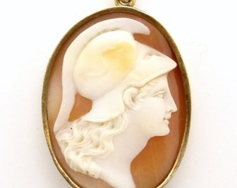 Antique Carved Shell Cameo Pendant Athena in 14K Gold Setting - 1900s Victorian / Edwardian Jewelry - Female Warrior Goddess Pallas Athena