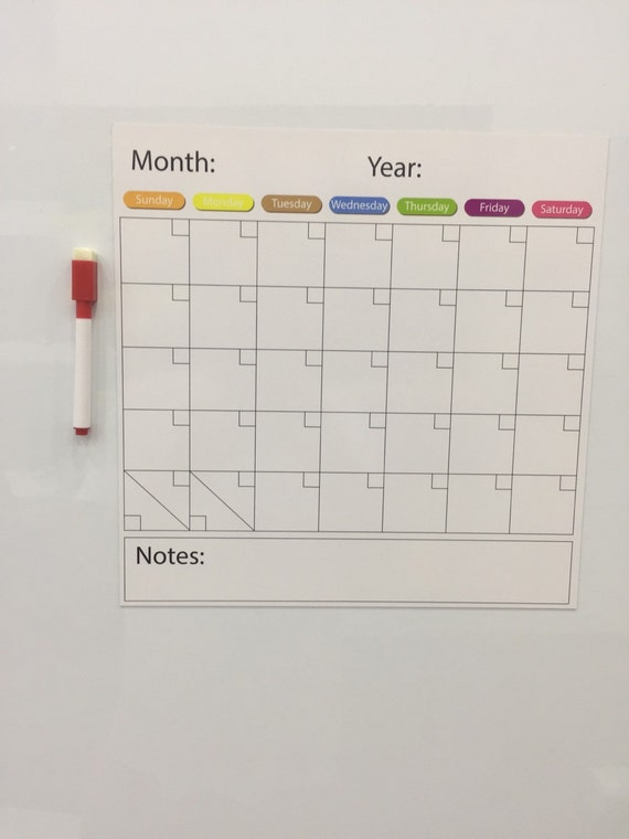 Monthly Dry Erase Board magnet, One Month White Board Organizer ...