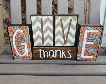 Give Thanks, Fall Decor, Seasonal Decor, Thanksgiving, Handmade Wood Decor, Rustic Decor, Home Decor, Block Set