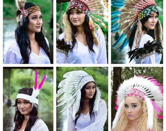 Deluxe Native American indian Style Feather Headdress ~ Mardi Gras Costume ~