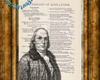 Founding Father of the US Benjamin Franklin Drawing - Beautifully Upcycled Vintage Dictionary Page Book Art Print