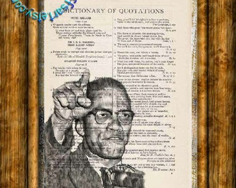 Malcolm X Drawing - Beautifully Upcycled Vintage Dictionary Page Book Art Print, Orator Art Print
