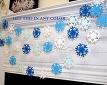 Blue White snowflake garland, Frozen snowflake theme decorations banner, Christmas snowflake garland, blue snowflake, baby boy/ winter decor