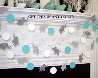 Elephant Garland,  Elephant baby shower Decorations,  Blue & Gray elephant Nursery Decoration, Gray elephant, lucky elephant, Baby boy