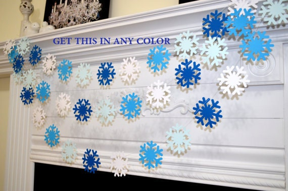 Blue And White Decorations blue white snowflake garland, frozen snowflake theme decorations