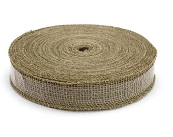 "1.5"" x 50 Yard Natural Burlap Ribbon with Sewn Edge- Great for Wedding Decorations, Crafts, Gift Wrap, and Bows - (BRHB15-12)"