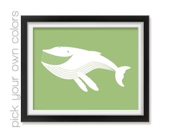 Whale Nursery Art Print, Modern Baby Nursery, Children's Decor, Baby Nursery Art, Nursery Decor, Nautical Nursery, Playroom Decor Aqua008