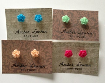 Rose stud earrings -7 colors!