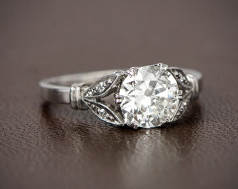Antique Style Engagement Ring. 1.13ct Old Mine Cut Diamond Engagement Ring. Estate Diamond Jewelry Collection