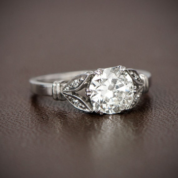 Antique Style Engagement Ring 1 13ct Old Mine Cut Diamond