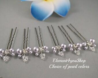 Bridal U SHaped Hair Pins Set of 6 Wedding Hair Accessories Lavender Champagne gold ivory pearls picks Bridesmaid Hairdo Hair Vines Crystals