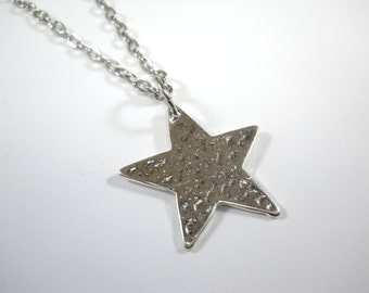 Textured Star Pendant Necklace, Celestial Charm Necklace, Star Charm Jewelry, Gift for Men, Men's Necklace, Women's Necklace
