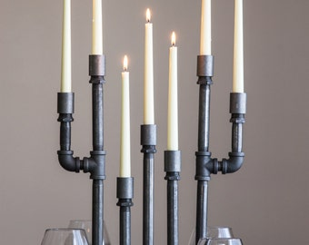 Pipe Candelabra Taper Set - Taper Candle Holders - Industrial Chic Decor - Metal Home Accessories - Pipe Furniture - Table Decorations
