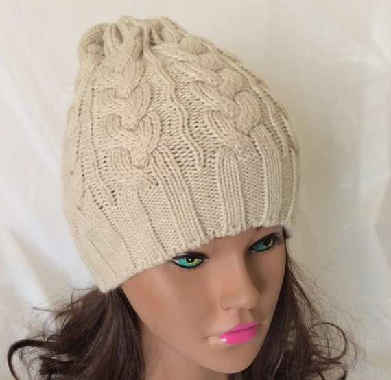 hat made cable knit hat slouchy beanie winter hat