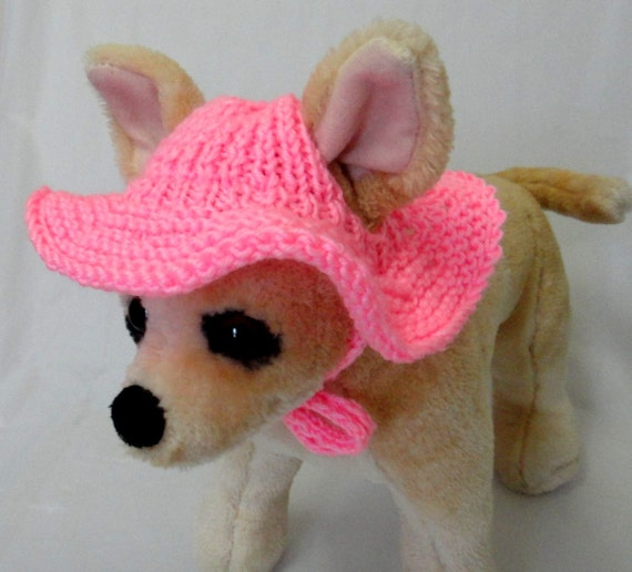 Knitting Patterns For Xxs Dogs : Items similar to Pet Clothes Crochet Brim Hat for Small ...