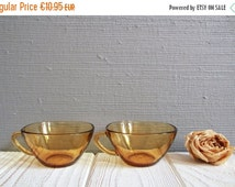 A pair of Vintage French Yellow Transparent Glass TEACUPS  ~ Pretty VERECO Glass Cups ~ Clear Glass Teacups Made in France