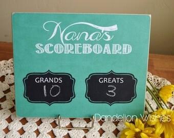 Gift For Nana, Personalized Gift For Grandma  {Nana's SCOREBOARD}  Grands & Greats, Christmas Gift Idea For Grandma, Custom Chalkboard
