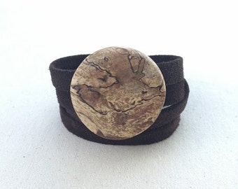 Wood Ballerina Wrap Bracelet with Suede- Various Colors