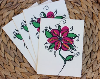 "Pink Flower Cards - 4 Pack - A2 (4.25""x5.5"") Blank Inside"