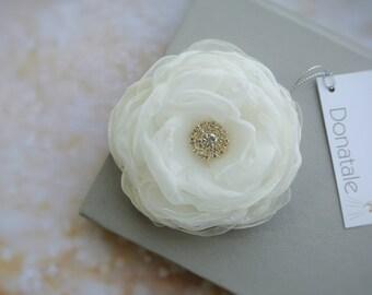 Wedding hair piece Bridal hair flower Bridal Hair piece Wedding hair flower Bride hair accessories Ivory Wedding headpiece-PEONY