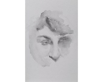 Head - 5.5 x 8.5, graphite/wash on paper