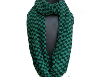 Infinity scarf/ loop scarf/ circle scarf/ tube scarf / green and black scarf / georgette scarf/   gift ideas.
