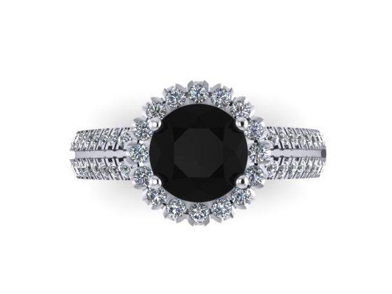 Unique Engagement Ring Round 7mm Genuine Black Diamond Center