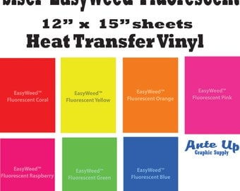Fluorescent HTV Vinyl Bundle, HTV Bundle Siser Heat Transfer Vinyl Pack, Siser Vinyl Material Fluorescent yellow HTV Vinyl Sheets, 5-12 x 15
