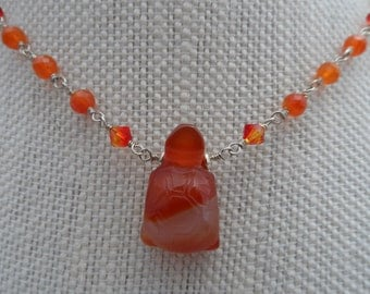 Sterling Silver, Carnelian and Swarovski Turtle Necklace