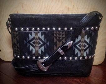 Black leather navajo purse