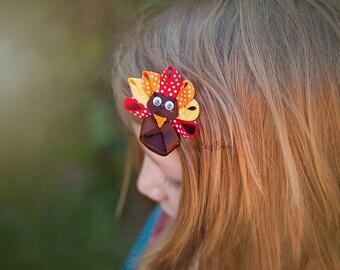 Sculpted girls thanksgiving turkey hair clip non slip grip headband
