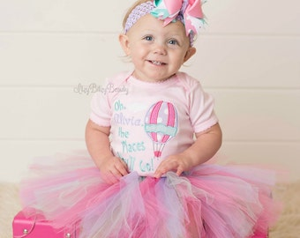 First second third birthday outfit hot air ballon oh the places you'll go embroidered custom name personalized TUTU set