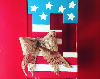 Custom Patriotic Initial with burlap hanger and bow