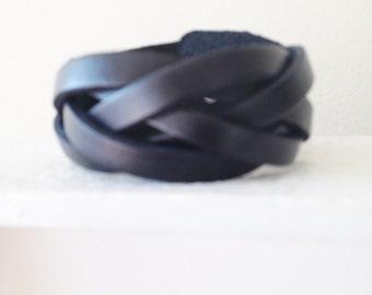 Black Genuine Leather Bracelet