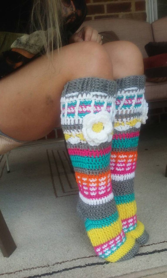 Free Crochet Patterns For Knee High Socks : PDF Pattern Instant Download Crochet Free Spirit Knee