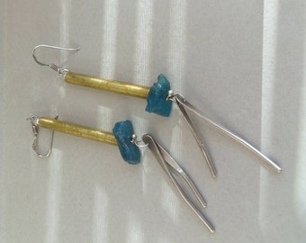 Sterling silver and brass earrings with raw apatite