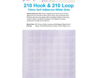 420 x 13mm Hook and Loop Self Adhesive White Coins Dots 210 Hook & 210 Loop