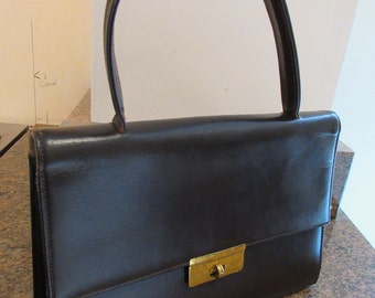 Vintage 1940's Dark Brown Leather Handbag - Single Handle, Very Interesting Gold Clasp!!