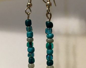 Teal Glass Bead Earrings
