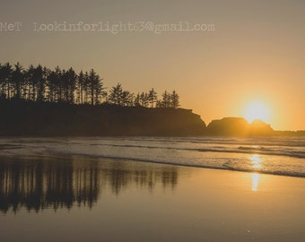 Ocean Sunset Photo, Oregon Sunset, Oregon Coast, Woodlands and Beach, Sunset and Ocean Waves, Sepia Orange Sunset, Pacific Ocean Photo Art