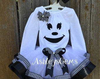 Ghost Costume, Ghost Tutu, Girls Ghost Costume, Ghost Dress, Halloween Costume, Black and White Ribbon Tutu, Ghost, Halloween Party
