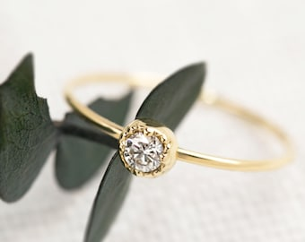 Small diamond engagement ring, 14k gold diamond solitaire ring, simple diamond solitaire ring, tiny diamond ring solid gold,  dal-r101-3mm