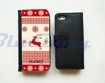 Red Reindeer Wallet Case - iPhone 7, iPhone 6 Case, iPhone 6s, iPhone 6 Plus, 6s Plus, iPhone 5/5s, iPhone 4/4s, Flip Case