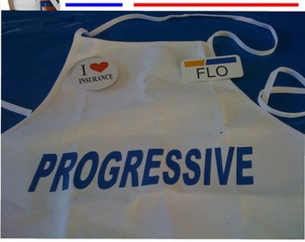 Three-Piece Flo Costume with Apron, Badge and Button.