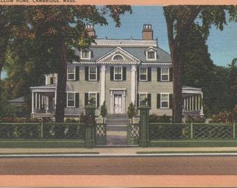 Longfellow Home, Cambridge, Massachusetts, Unused Postcard, c1930s, good shape
