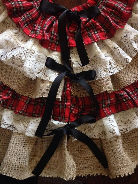Flannel Burlap Amp Lace Country Christmas Tree Skirt By