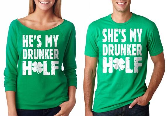Saint Patrick Day Couple T-Shirts Drunker Half T-Shirt St. Patrick's Day Party Couple Tees