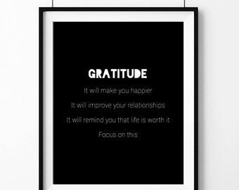 Gratitude Can Help Wall Art Print INSTANT DOWNLOAD Printable Self Help Reminder