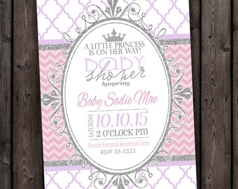 CUSTOMIZED fast, princess baby shower invitation, pink and silver, baby shower invitations, royal princess baby shower, customized wording