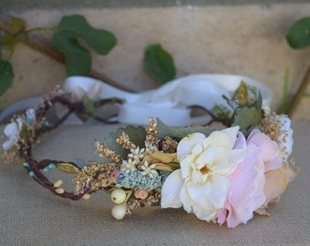 Dusty Teal, Blush & Ivory Flower Crown - Dusty Teal and Blush Pink on a rustic looped halo - Photo Prop - Bridal Crown- Flower Girl Crown